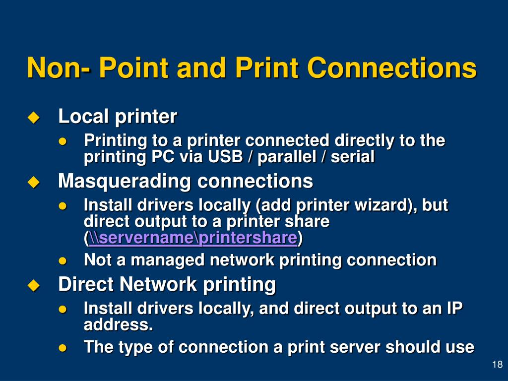 Non- Point and Print Connections