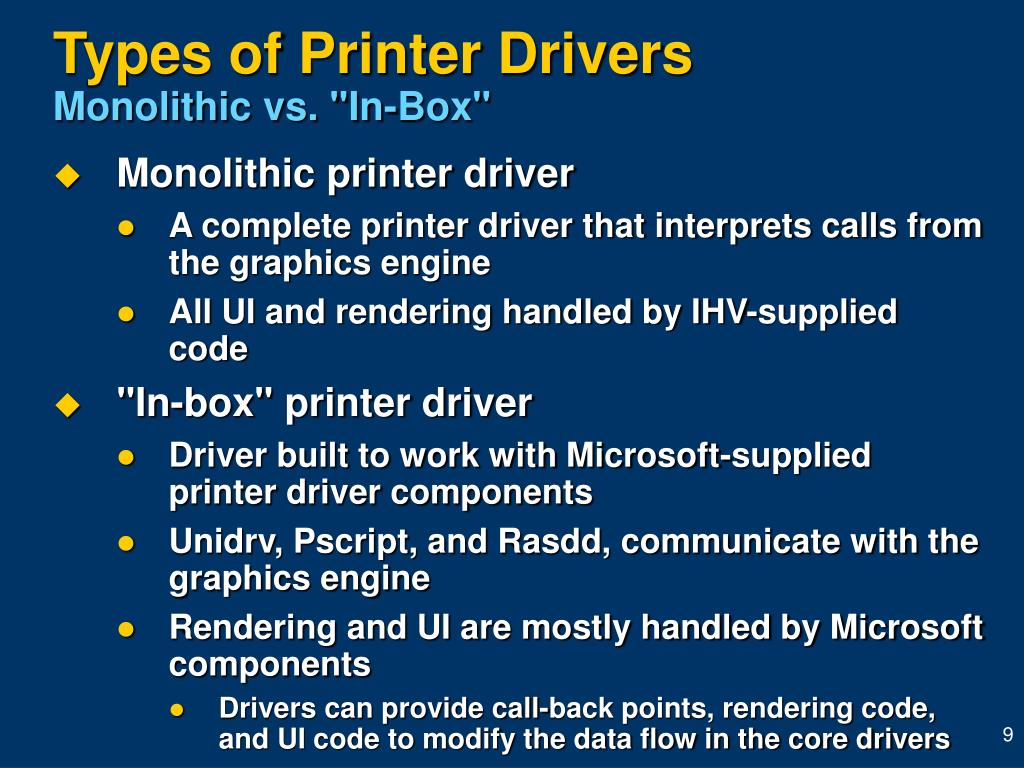Types of Printer Drivers