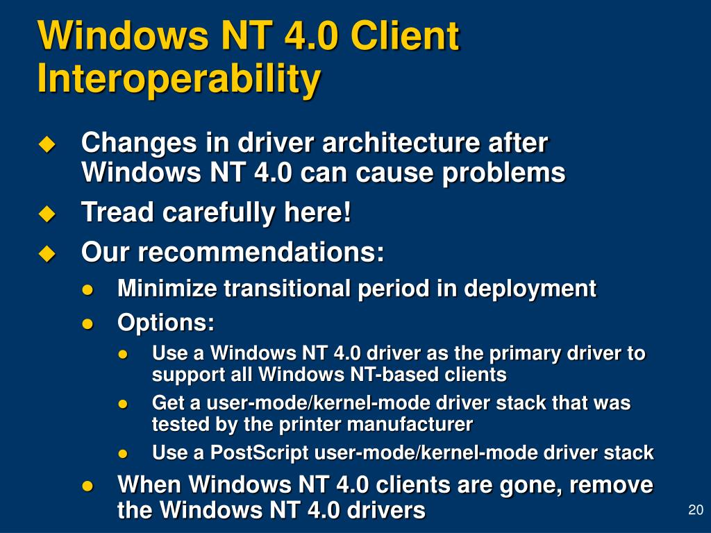 Windows NT 4.0 Client Interoperability