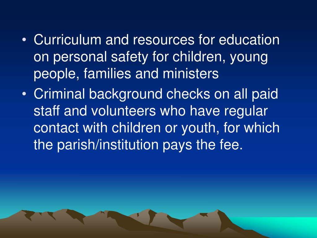 Curriculum and resources for education on personal safety for children, young people, families and ministers