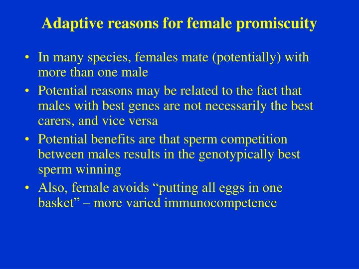Adaptive reasons for female promiscuity