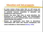 education and job prospects