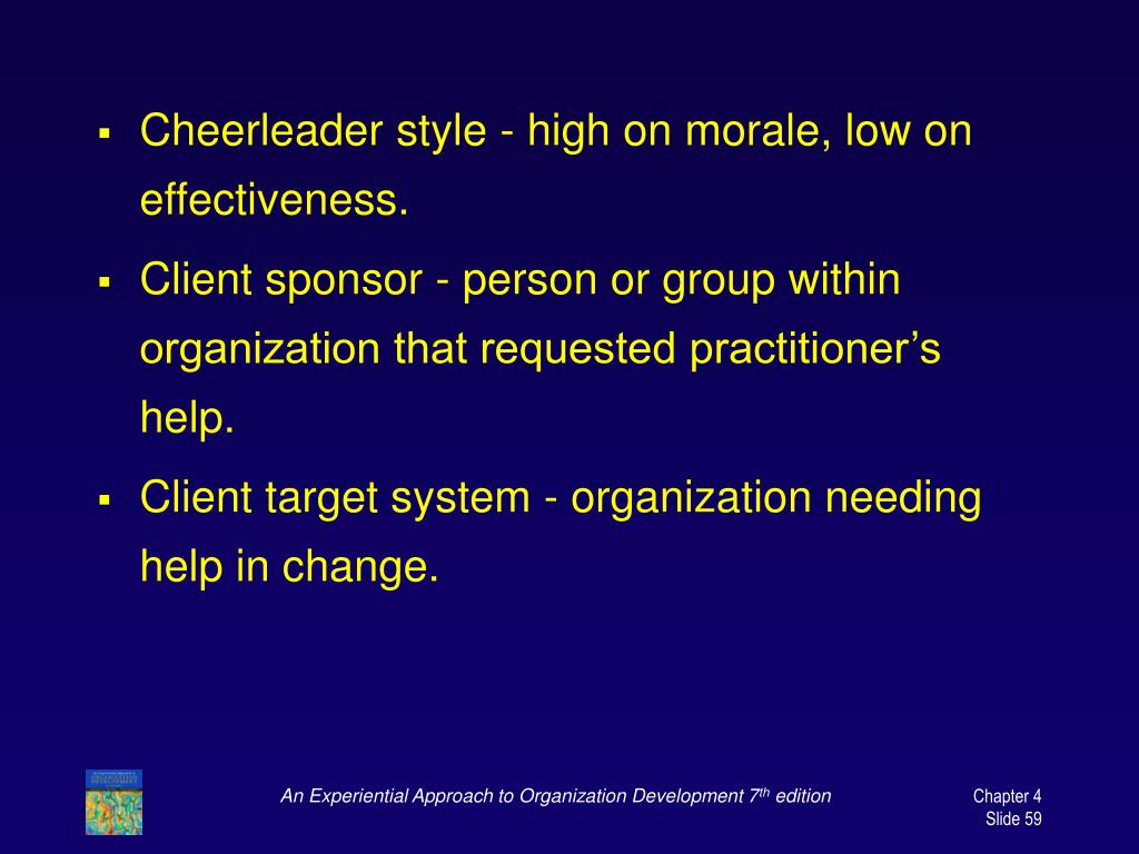 Cheerleader style - high on morale, low on effectiveness.