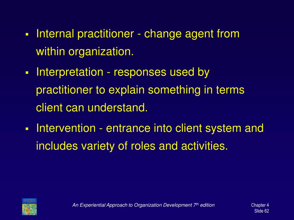 Internal practitioner - change agent from within organization.