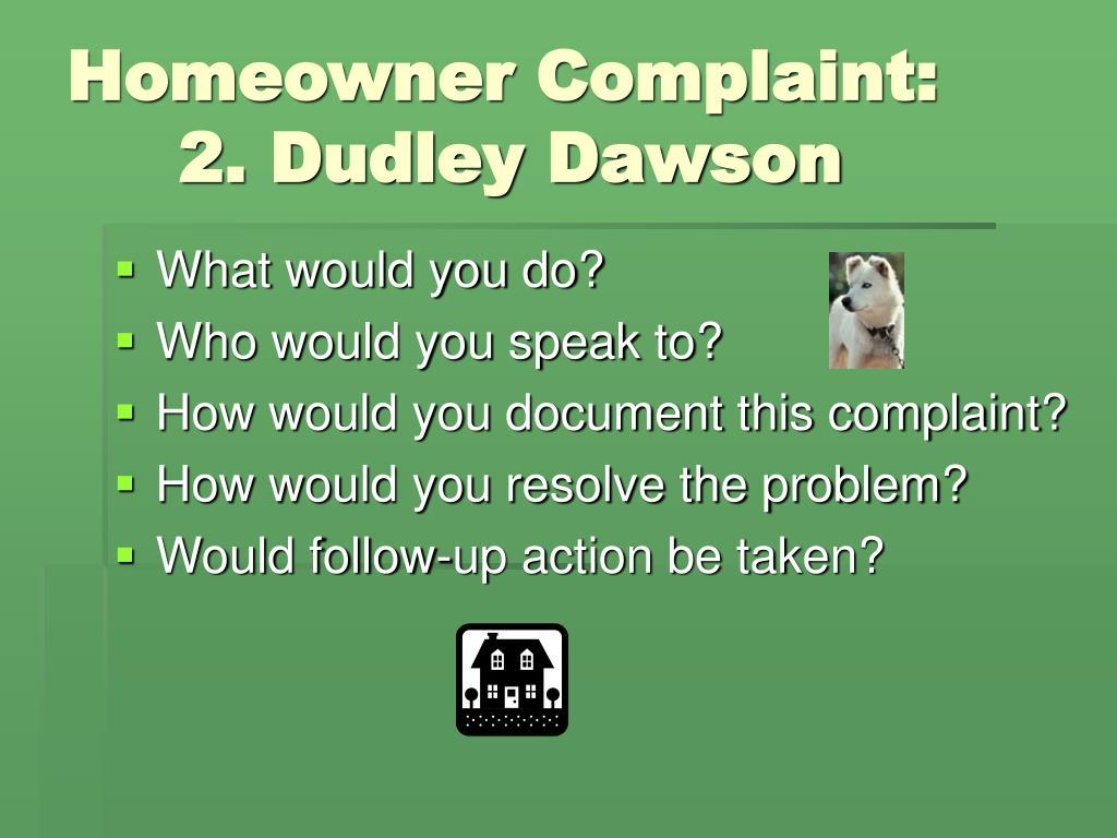 Homeowner Complaint: