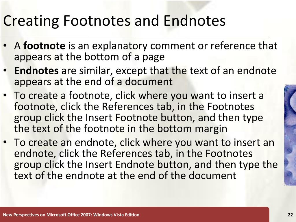 Creating Footnotes and Endnotes