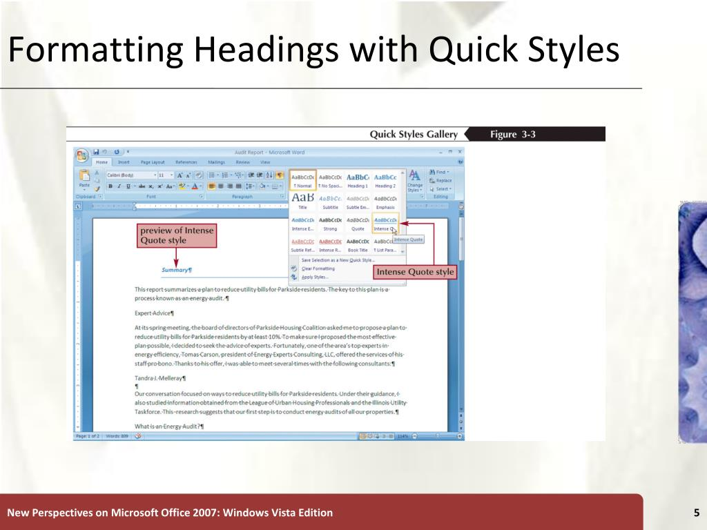 Formatting Headings with Quick Styles