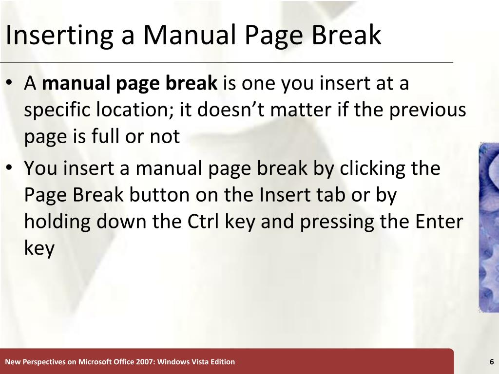 Inserting a Manual Page Break