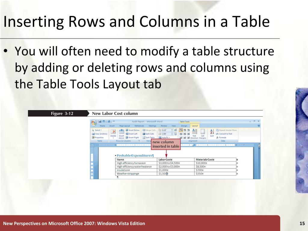 Inserting Rows and Columns in a Table