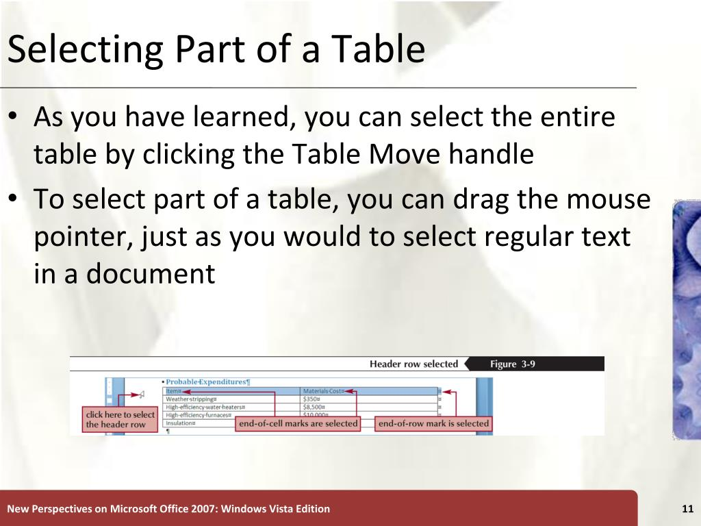 Selecting Part of a Table