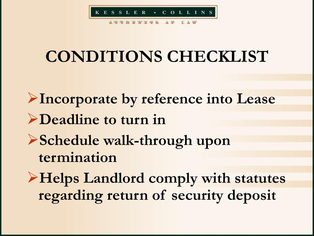 CONDITIONS CHECKLIST