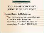 the lease and what should be included