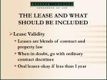 the lease and what should be included24