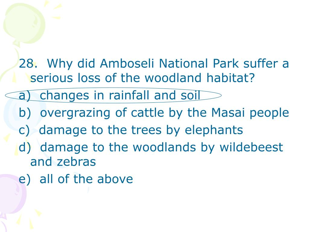 28.  Why did Amboseli National Park suffer a serious loss of the woodland habitat?