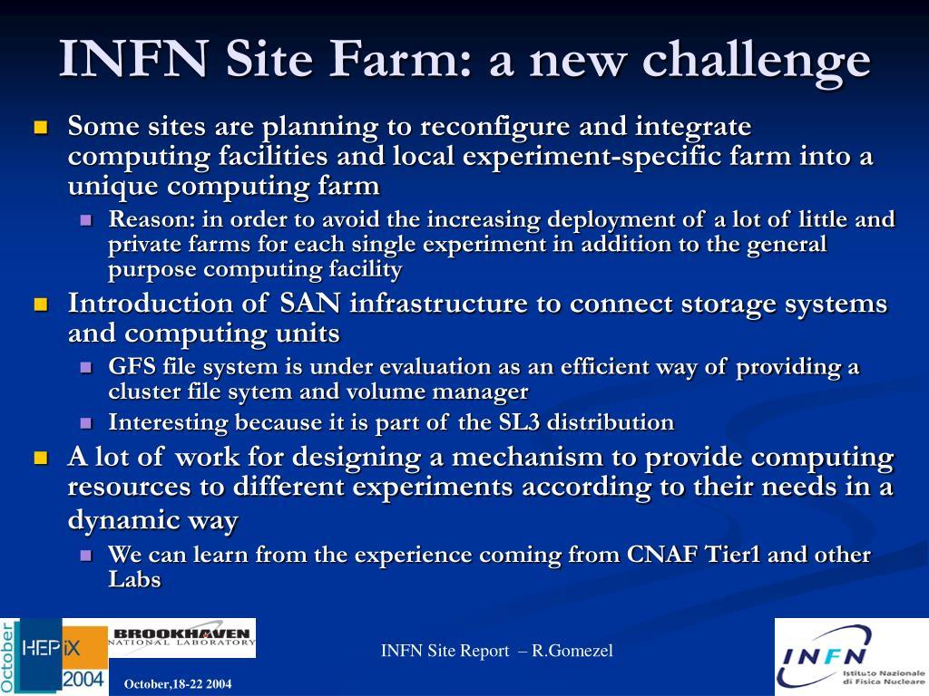 INFN Site Farm: a new challenge