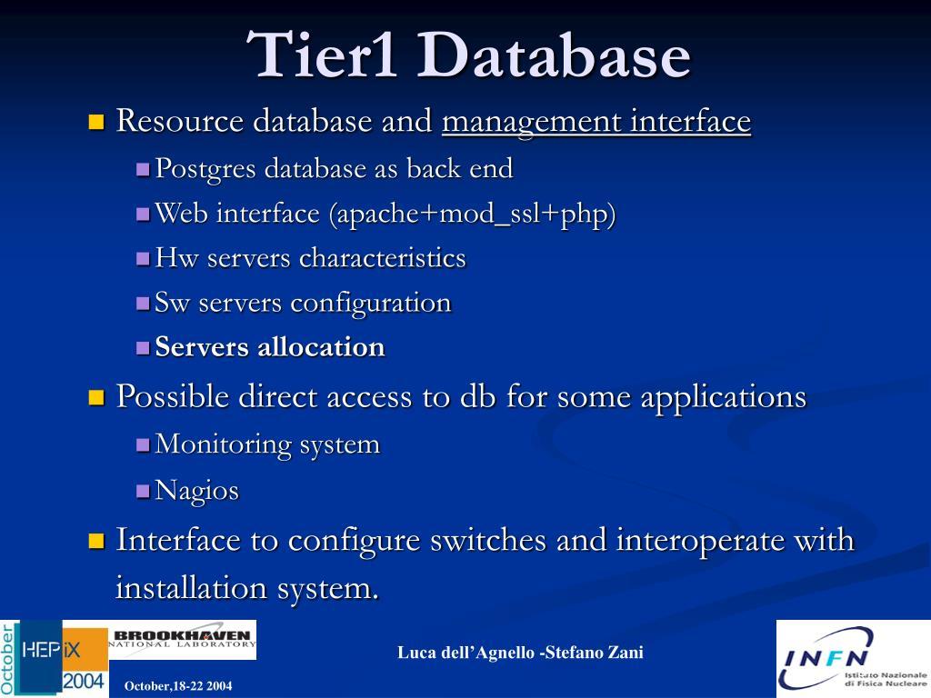 Tier1 Database
