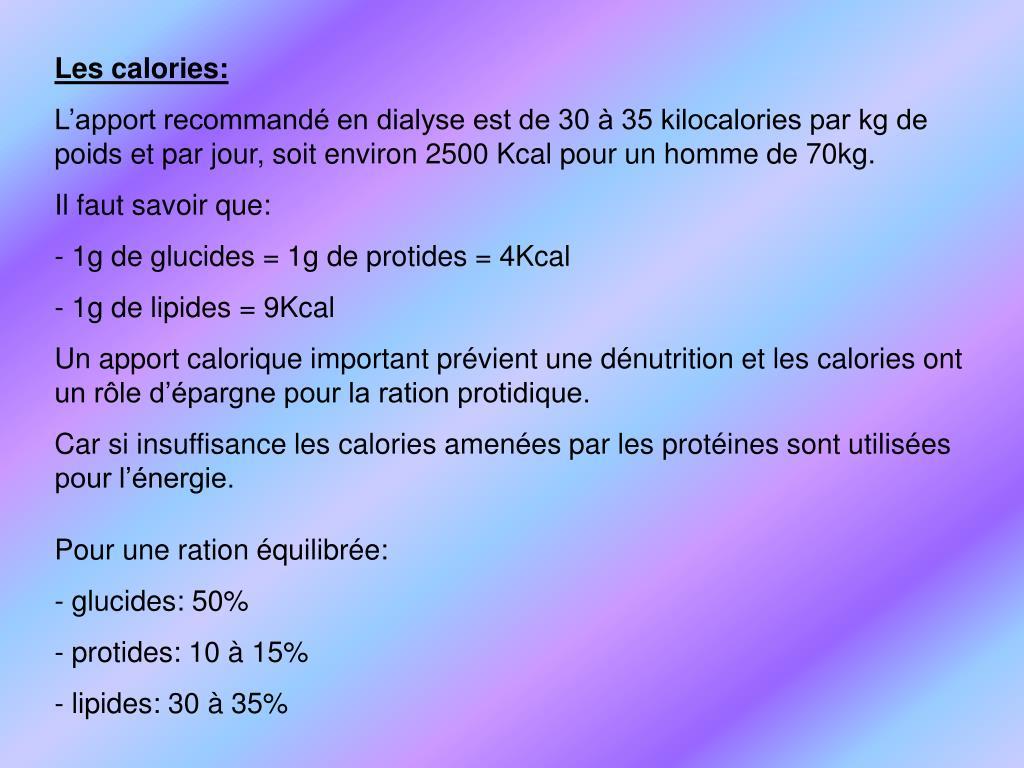 Les calories: