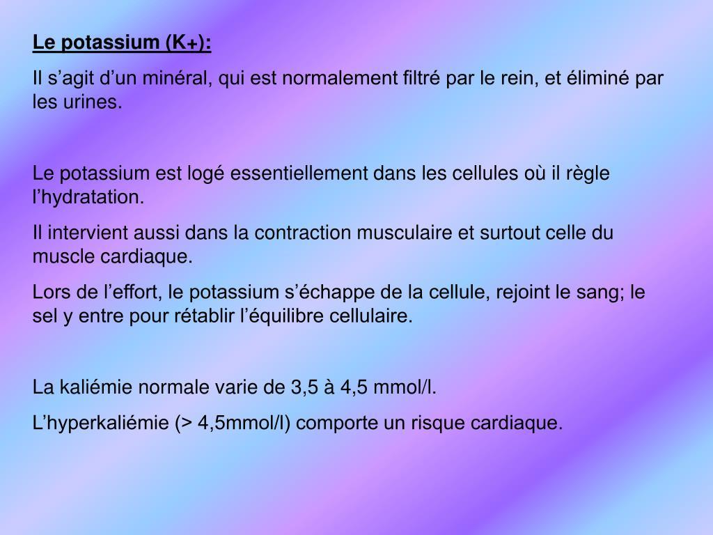Le potassium (K+):