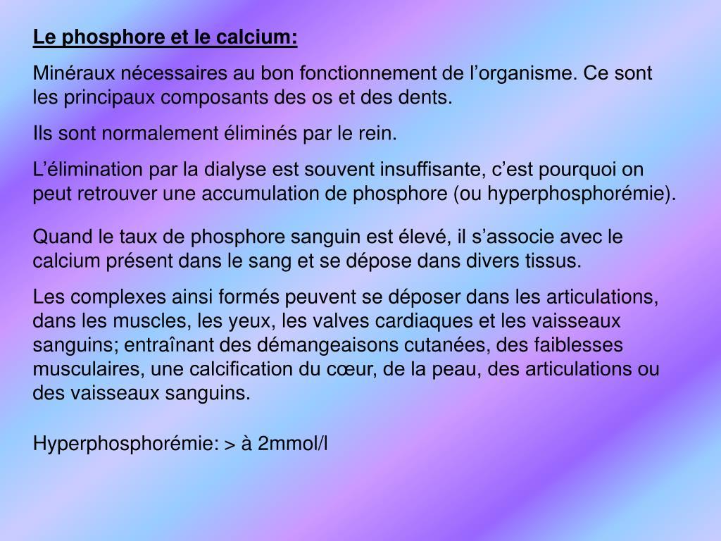 Le phosphore et le calcium: