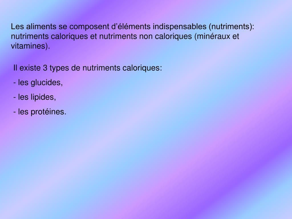 Les aliments se composent d'éléments indispensables (nutriments): nutriments caloriques et nutriments non caloriques (minéraux et vitamines).