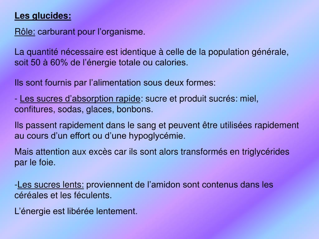 Les glucides: