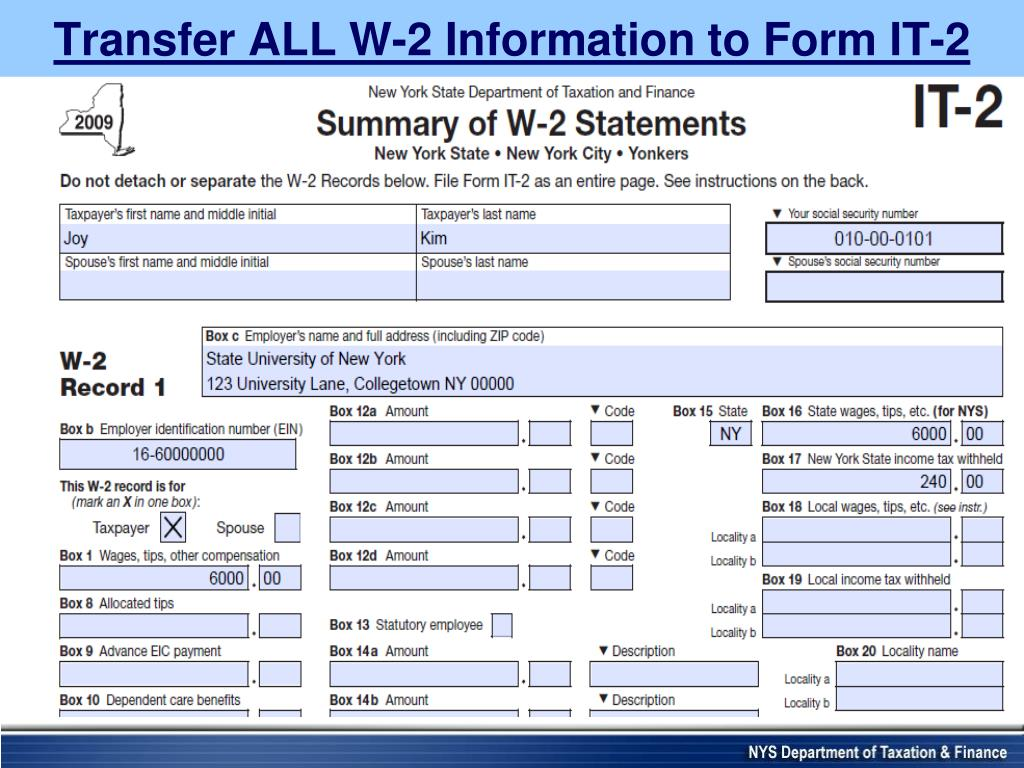 Transfer ALL W-2 Information to Form IT-2