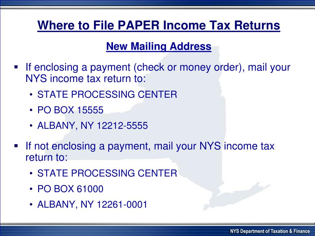 Where to File PAPER Income Tax Returns