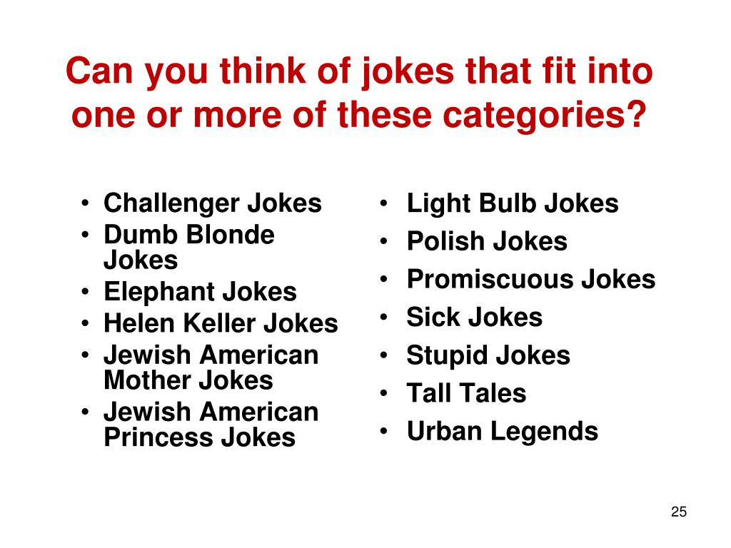 Can you think of jokes that fit into one or more of these categories?