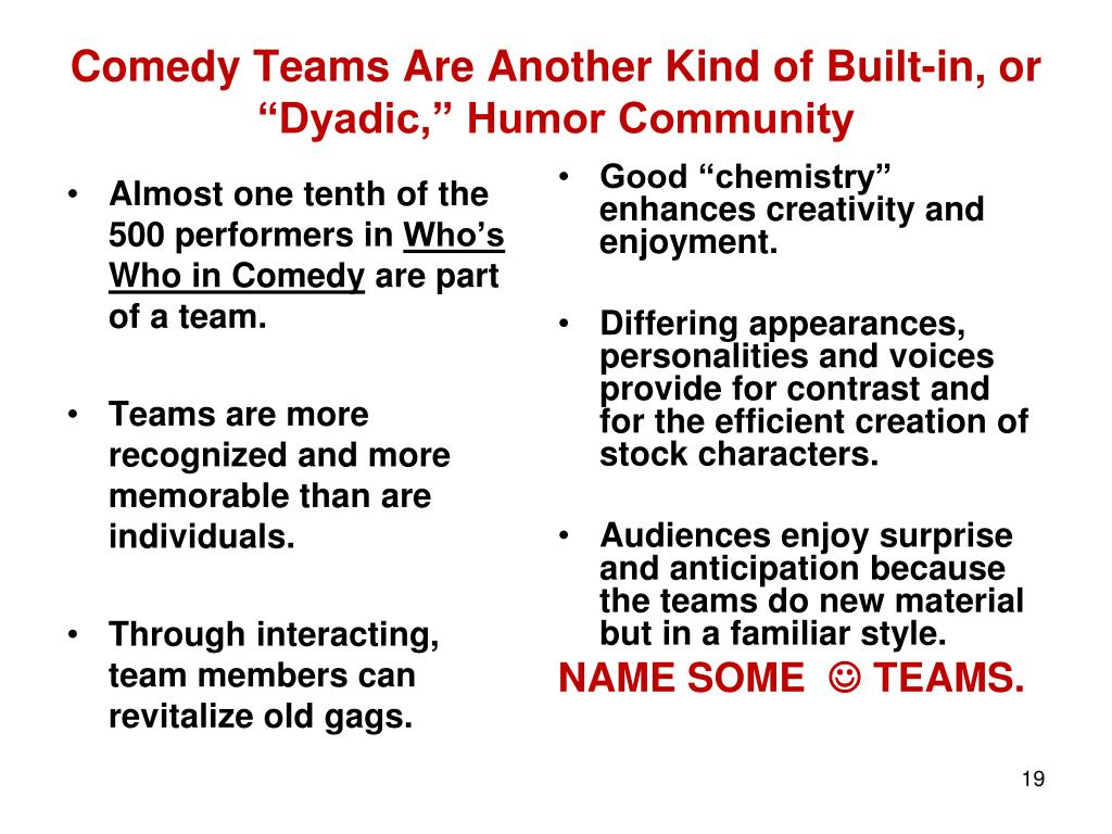 """Comedy Teams Are Another Kind of Built-in, or """"Dyadic,"""" Humor Community"""