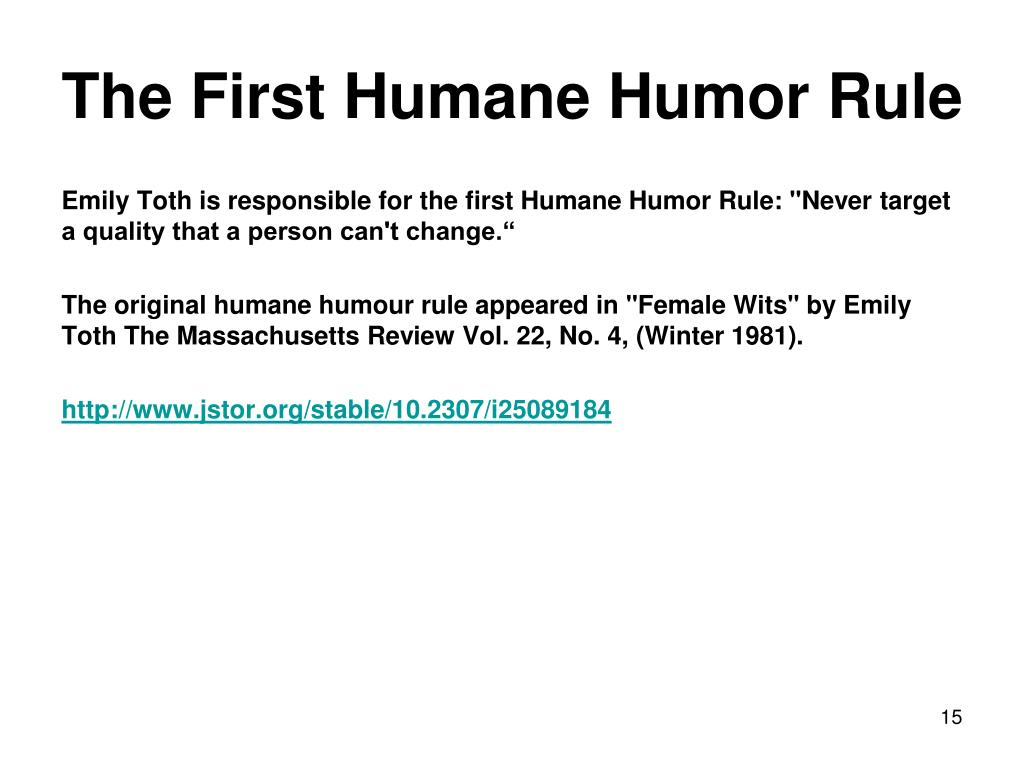 The First Humane Humor Rule