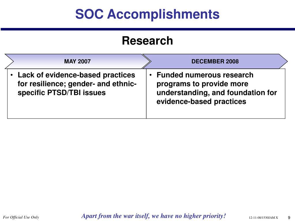 SOC Accomplishments