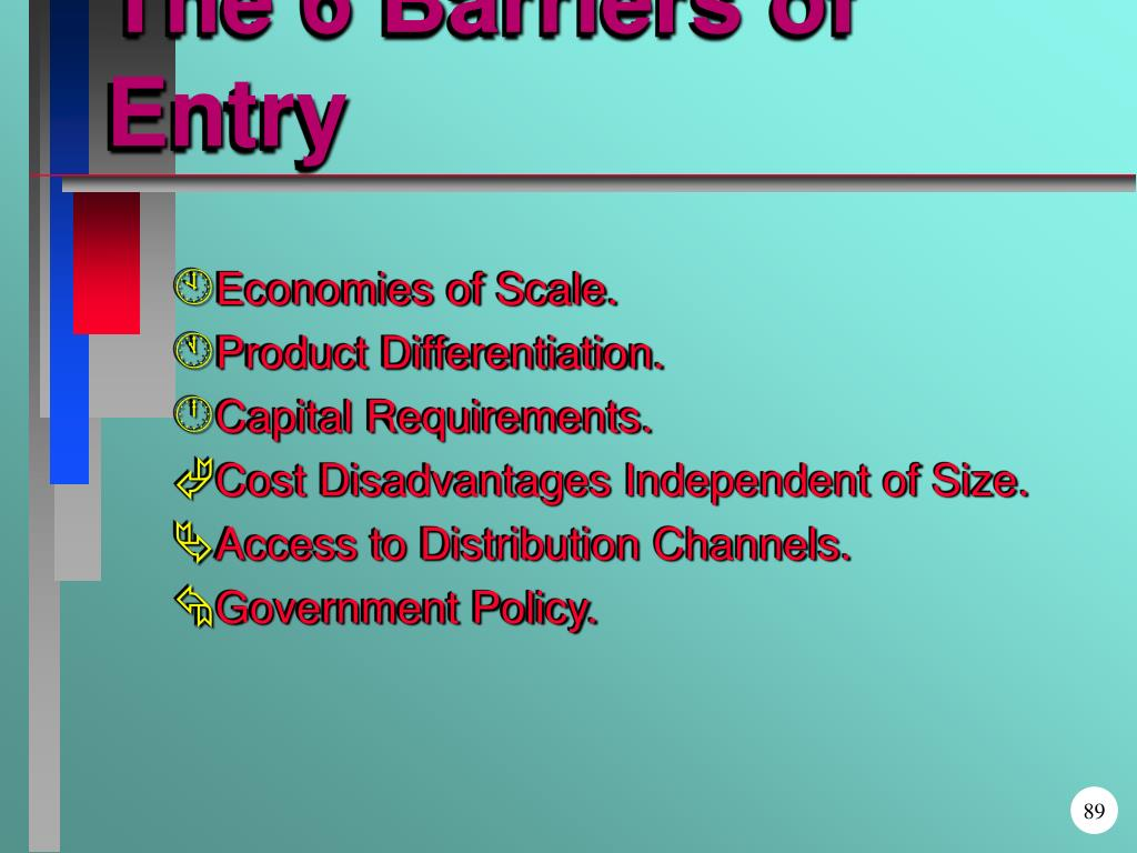 The 6 Barriers of Entry