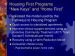 housing first programs new keys and home first