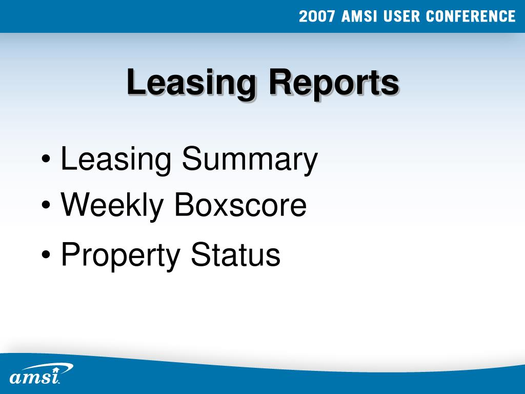 Leasing Reports