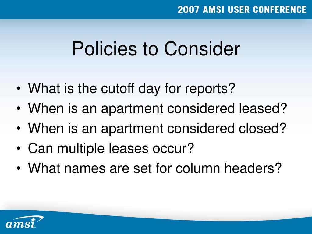 Policies to Consider