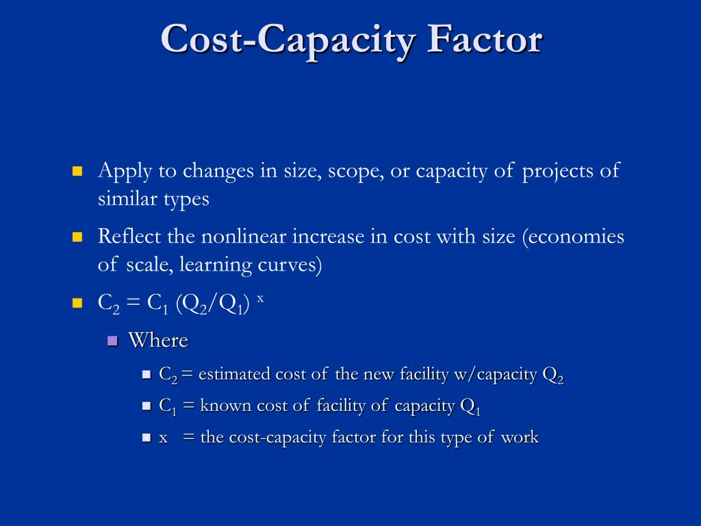 Cost-Capacity Factor