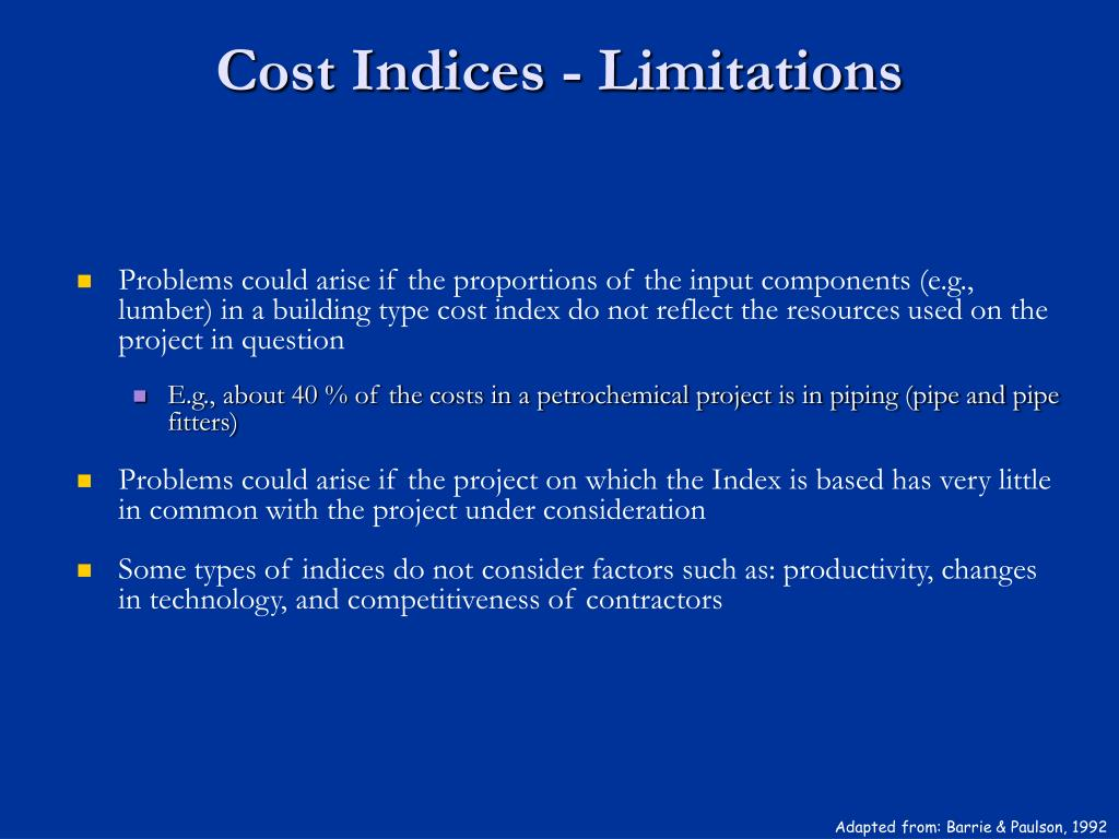 Cost Indices - Limitations