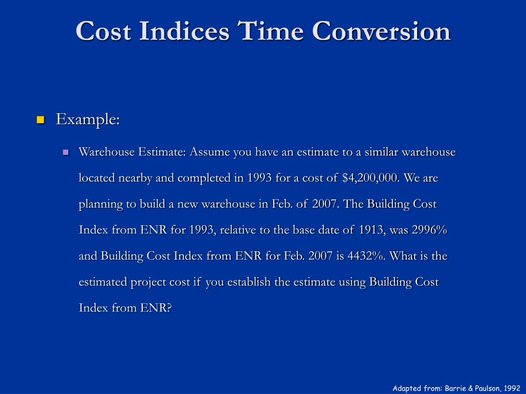 Cost Indices Time Conversion