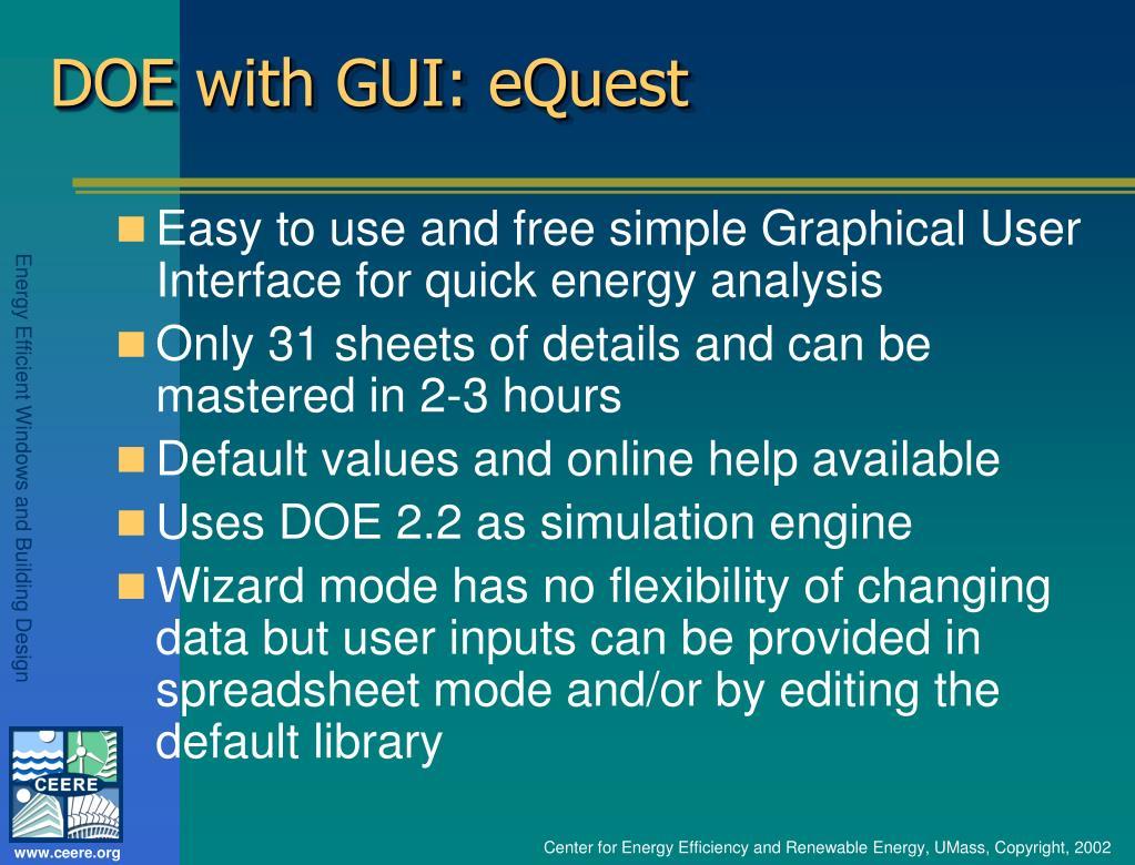 DOE with GUI: eQuest
