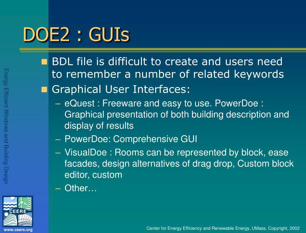 DOE2 : GUIs