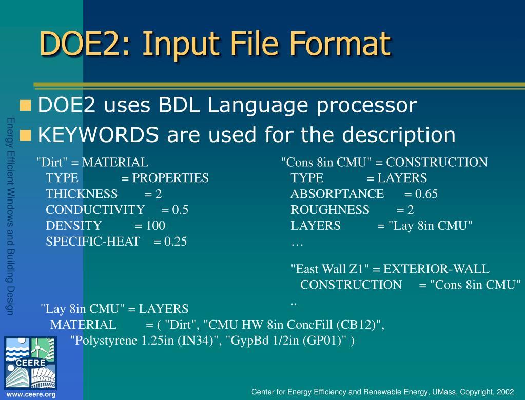 DOE2: Input File Format