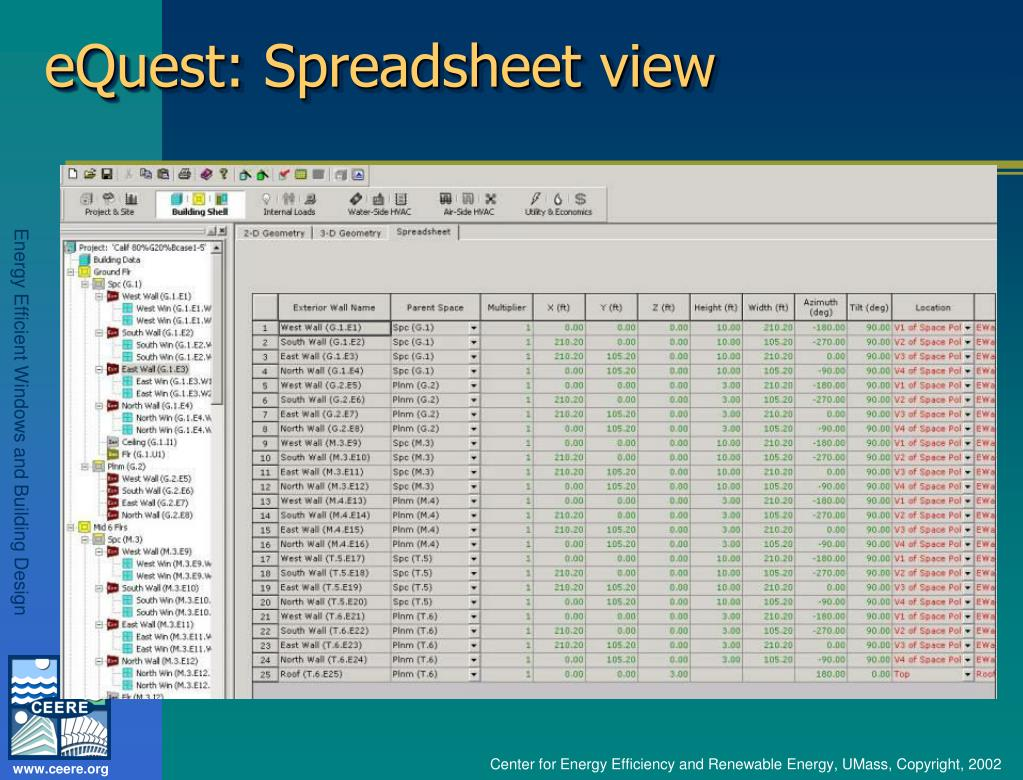 eQuest: Spreadsheet view