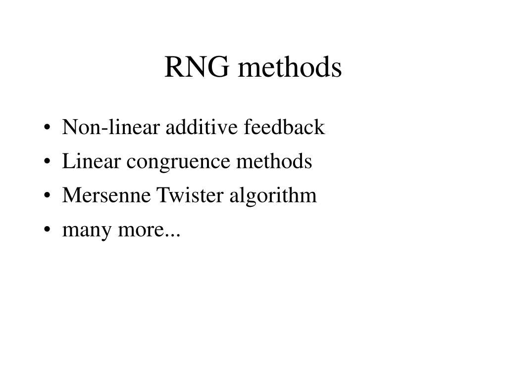 RNG methods