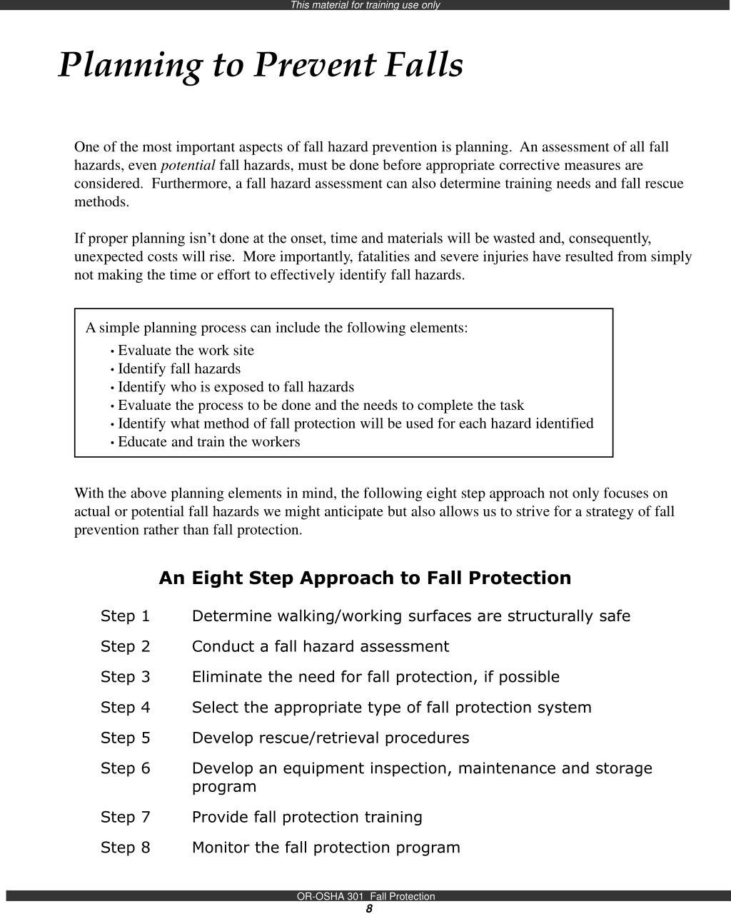 Planning to Prevent Falls