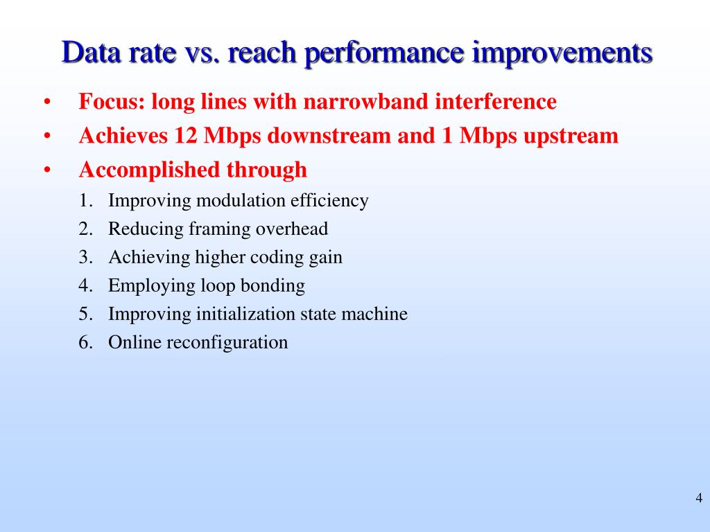 Data rate vs. reach performance improvements