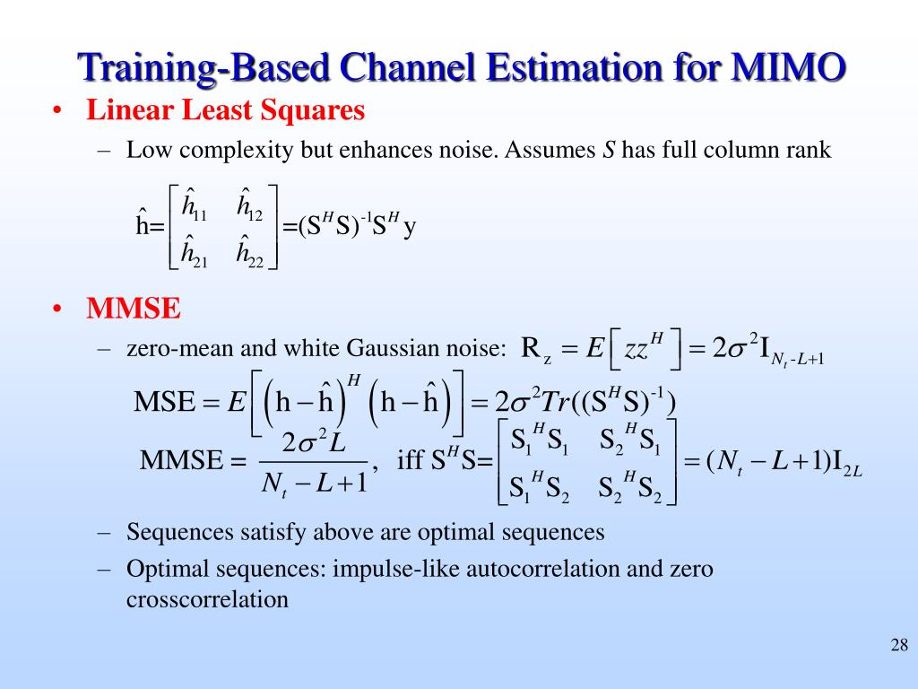 Training-Based Channel Estimation for MIMO