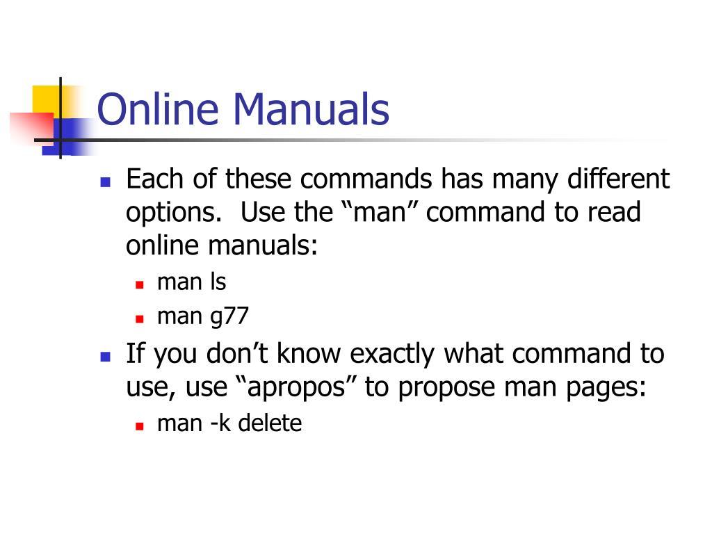 Online Manuals