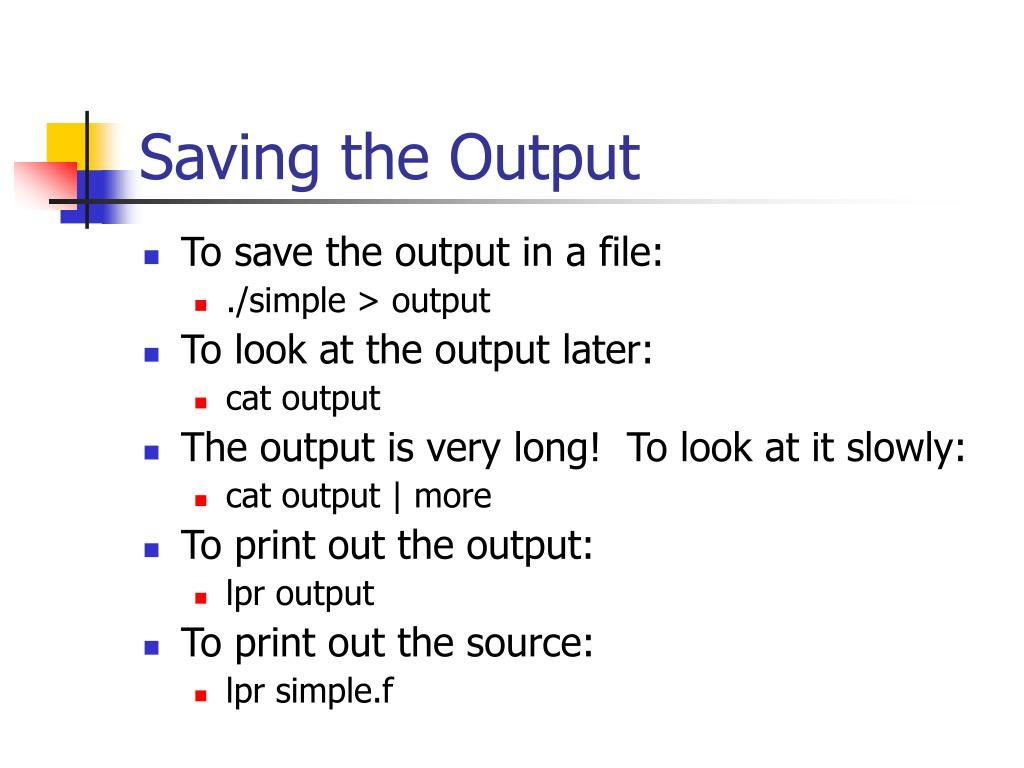 Saving the Output