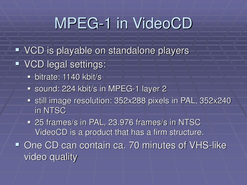 MPEG-1 in VideoCD