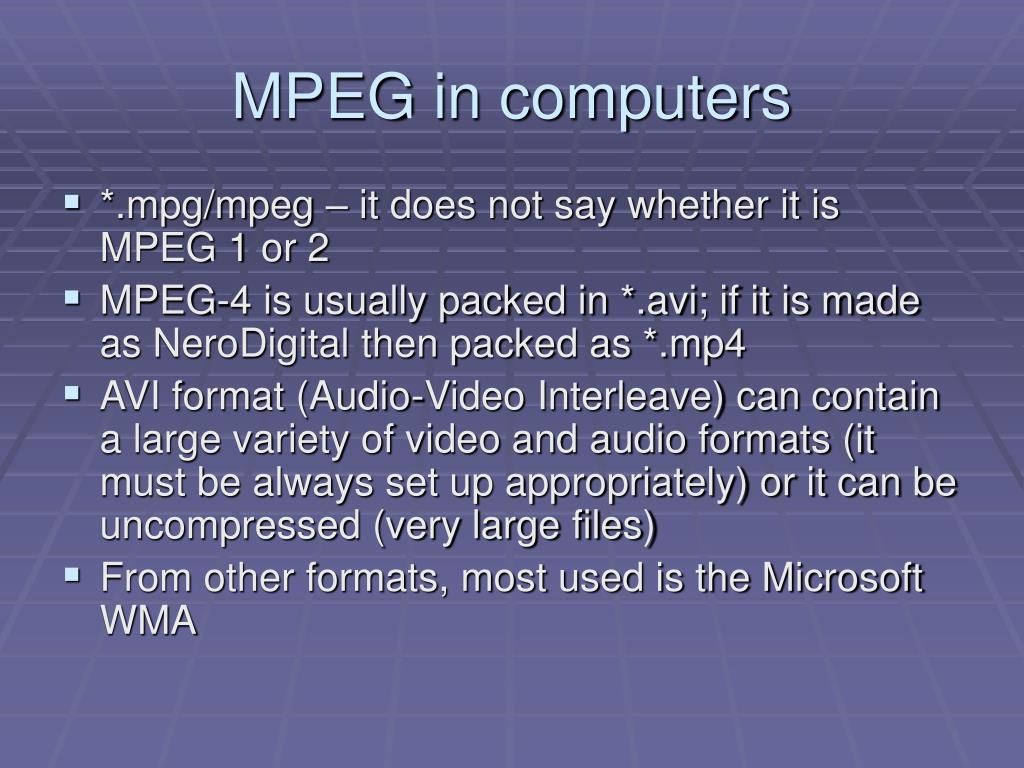 MPEG in computers